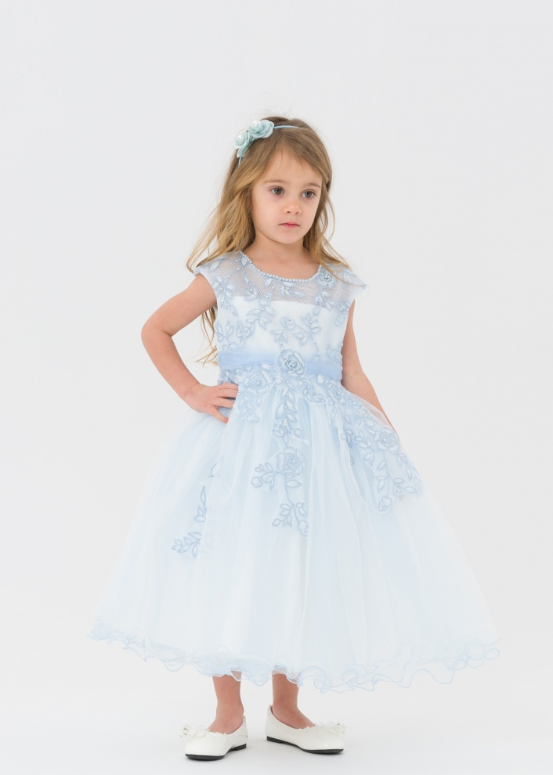 Детска официална рокля с бродерия