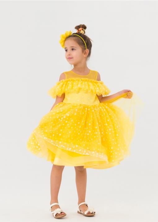 Детска официална рокля на точки
