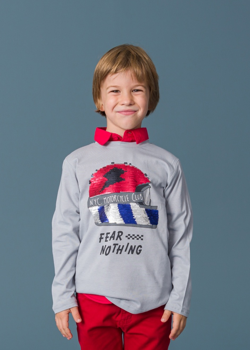 Детска блуза с двулицеви пайети