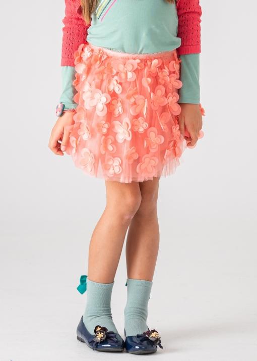 Детска тюлена пола с цветя