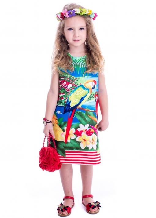 Детска рокля с абстрактен принт