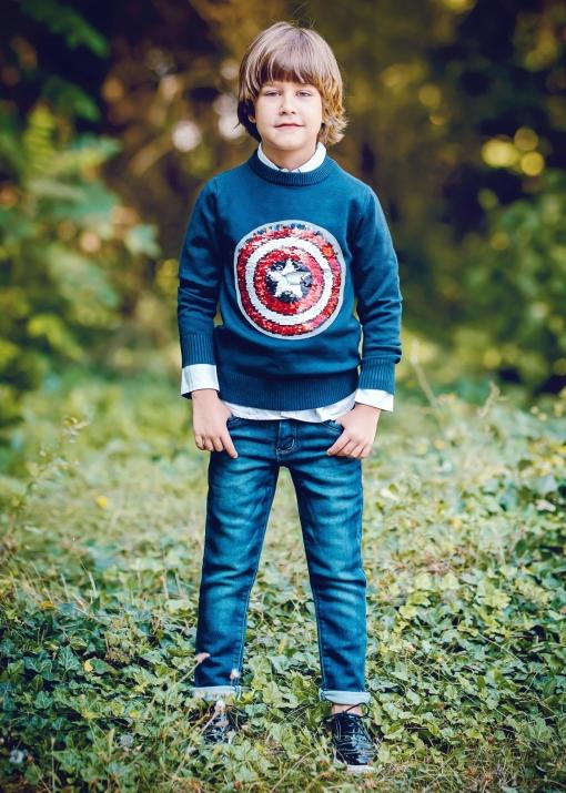 Детски пуловер с двулицеви пайети