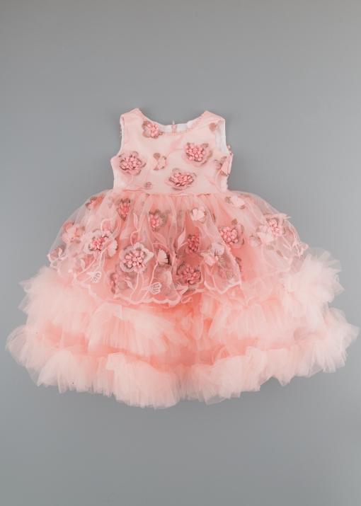 Детска официална рокля с цветя