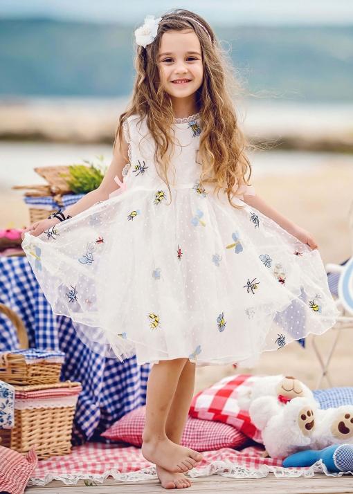 Детска официална рокля с бродерии