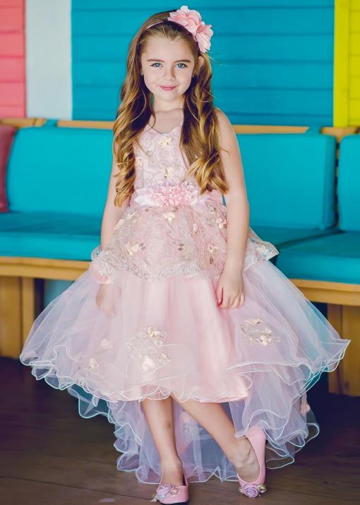 Детска официална рокля с шлейф