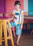 Детски къси дънки с кръпки